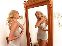 Blonde, Lingerie, Masturbation, Teen